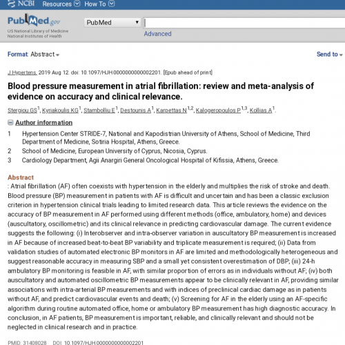Blood pressure measurement in atrial fibrillation: review and meta-analysis of evidence on accuracy and clinical relevance